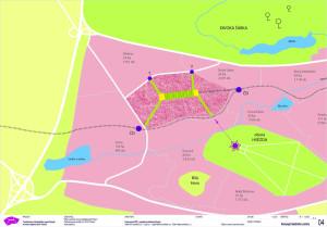 """Schematický plán poměrů nového """"superměsta"""" zadaného radnicí Prahy 6. Na výkresu, který je součástí žádosti změny územního plánu, je patrné, že tramvajová trať bude mít pro nové město klíčovou roli. Písmena """"T"""" jsou dvě plánované stanice. Na tom samozřejmě obecně není nic zlého - stávající projekt tramvaje však opakuje: dopady nových projektů nebereme v potaz... Zdroj: MČ Praha 6"""