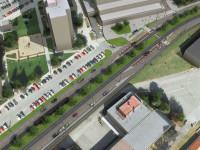 Vizualizace plánované trasy tramvaje v místech, kde se nyní parkuje. Omezené množství parkovacích ploch vznikne podél komunikace. Zdroj: Stavební dokumentace MHMP