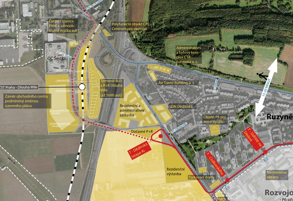 Detaily celkové mapy zahrnující plánované projekty v okolí Dědiny. Zdroj: Šestka/Praha 6
