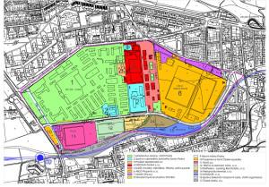 """Vybarvené plochy znázorňují rozsah plánovaného """"superměsta"""", oranžovo-žlutá barva plochu vlastněnou společností Central Group. Schema majetkových poměrů je z roku 2012, kdy ještě tyto pozemky vlastnila rakouská společnost Immofinanz. Zdroj: MČ Praha 6"""