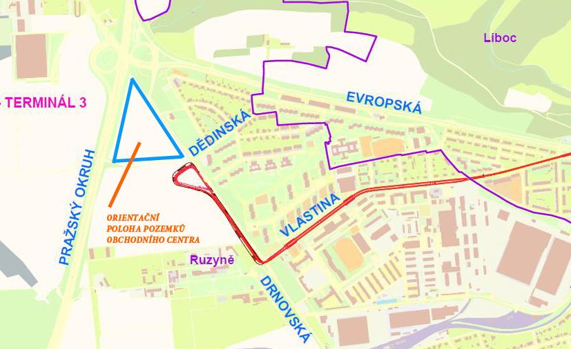 Přibližné území, na němž by vzniklo nové obchodní centrum (modrý trojúhelník). Podklad: Projekt rozšíření tramvajové trati (červená čára). Zdroj: MČ Prahy 6, MHMP