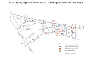Původní plán počítá s vybudování obří křižovatky mezi ulicí Navigátorů a Evropskou, druhá varianta nyní zvažuje i možnost, že by do Evropské ústil pouhé sjezd a Vlastina by zůstala průjezdná pro cesty od města. Zdroj: MHMP